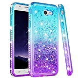 Ruky Samsung Galaxy J7 2017 Case, Galaxy J7 Prime J7 V J7 Perx J7 Sky Pro Halo Case, Gradient Quicksand Series Glitter Flowing Liquid Floating Bling Diamond Cute Case for Girls Women (Teal Purple)