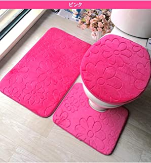 トイレ&バス3点セット バスマット トイレマット トイレのふたカバー バスルームマット 足ふきマット お風呂マット ユニットバス (ピンク)
