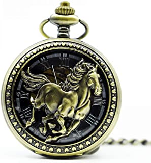 YXZQ Pocket Watch, Automatic Retro Auto Hollow Horse Mechanical Pocket Watches Gifts Men Women Watch