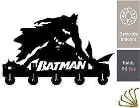 Batman Bruce Wayne Crochets muraux en bois faits à la main Poids léger et facile à installer, 5 crochets en métal, couleur...