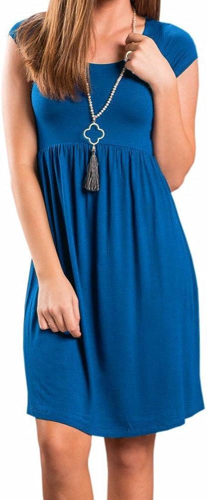 PALINDA Women's Short Sleeve Empire Waist Casual Swing T Shirt Dress