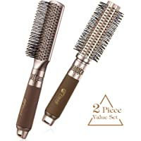 2-Pack Flend Anti-static Detangling Professional Styling Brush For Blow Drying, Styling, Curling & Straightening (Brown)