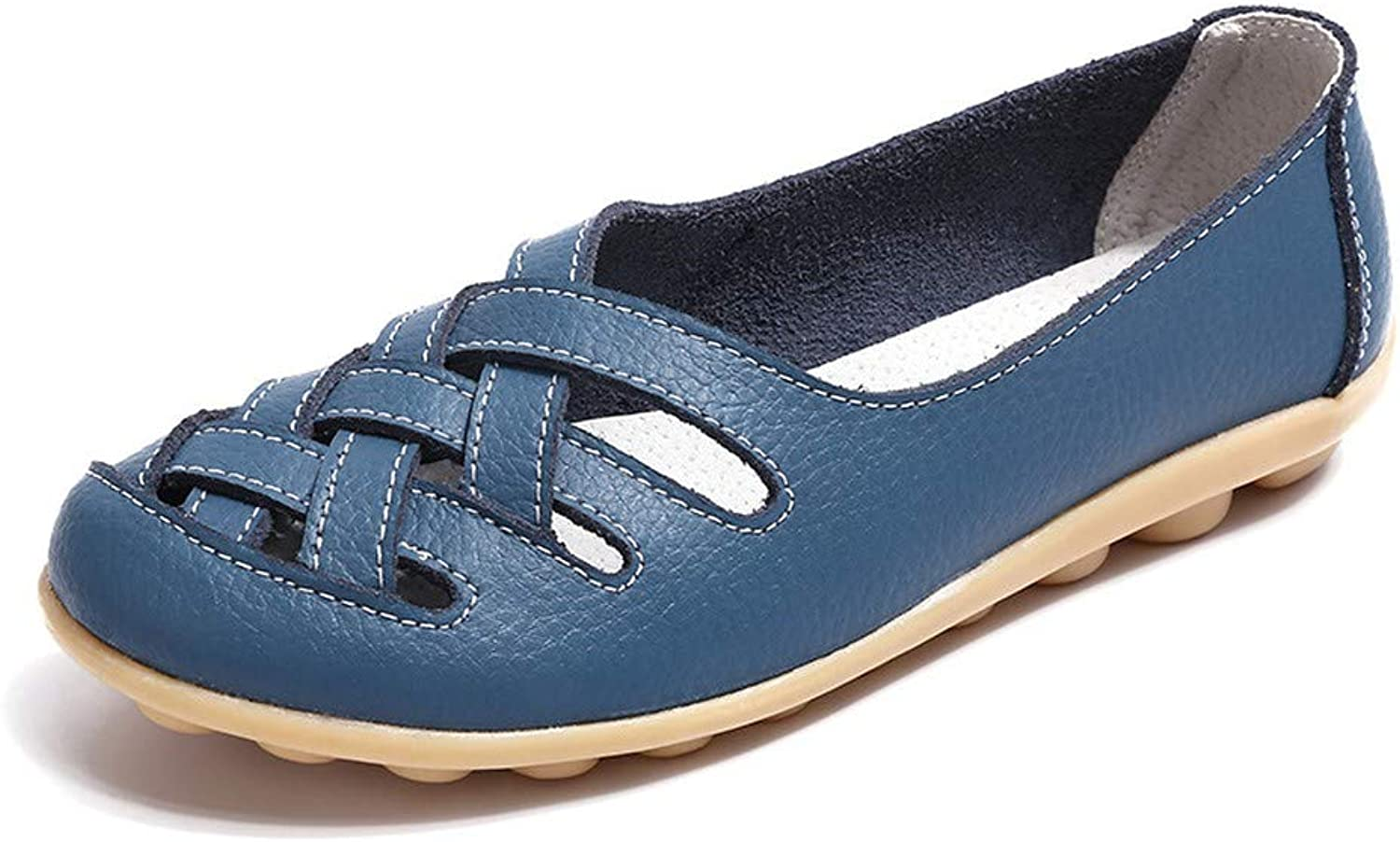 BETIY Women's Leather Loafer Casual Flat shoes Rubber Sole shoes