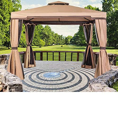 SUNCROWN Outdoor Patio Garden Gazebo 10 x 10 FT All-Season Permanent Gazebo with Vented Soft Canopy,...