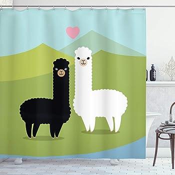 LB Animal,Alpaga,Plante,Cactus/_Decor Rideau de Douche pour la Salle de Bains 59W x71H r/ésistant /à leau Polyester Tissu Salle de Bain Rideau