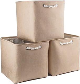 Mangata Boîte pour Cube de Rangement en Toile Pliable, Panier de Rangement en Tissu (33 × 33 × 33 cm) pour Jouets, Serviet...