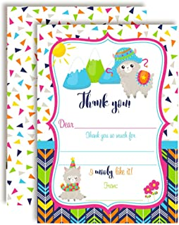 Wooly Fun Alpaca Birthday Thank You Notes for Kids, Ten 4