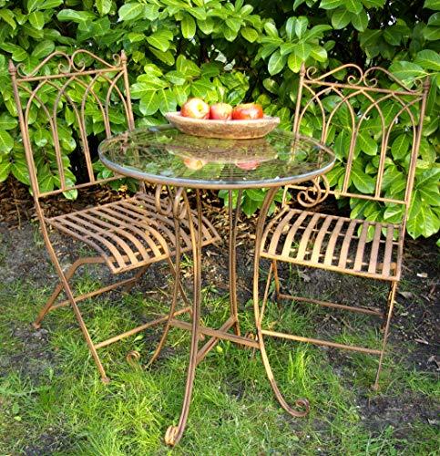 GeKi Trend Edles Bistroset aus Eisen Antik Jugenstil Balkon-Set Garten Tisch mit Glasplatte und 2 Stühlen antik-braun hochwertig