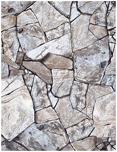 HaokHome 620511 Faux Stone Peel and Stick Wallpaper Rock Stone Self Adhesive Contact Paper