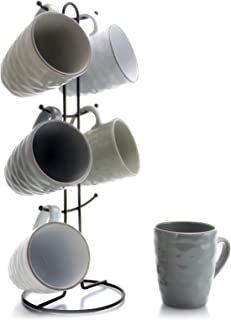Elama EL-TAHITIANWAVES Tahitian Waves 6 Piece 12 oz Mug Set in Assorted Tones with Complimentary Stand, 12oz, Multicolor