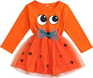YOUNGER TREE Toddler Baby Girls Orange Halloween Pumpkin Long Sleeve top Tutu Gauze Spotted Dress 1-6T one-Pieces