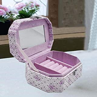 Kookee™ Jewellery Organizer Box with Mirror, 3 Section - Purple Butterfly Print