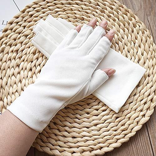 Rekaf Guantes de protector solar de color sólido de las mujeres que conduce a medio dedo que conduce el sudor absorbente transpirable guantes delgados para la conducción al aire libre ciclismo de prot