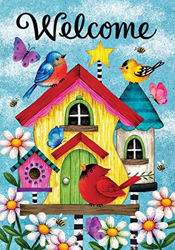 Caseta para pájaros banal de decoración personalizada - Tamaño estándar, bandera decorativa de doble cara, con licencia y con derechos de autor - Impreso en los EE. UU. Inc. - 12.5 'x 18' Aprox. Talla