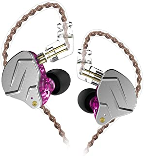 KZ ZSN Pro Headphones 1BA 1DD Over Ear Earbuds Yinyoo Wired Earphones Hybrid Balanced Armature Driver Dynamic Drivers & 3.5mm Audio Plug Detachable Cable(Purple no mic)