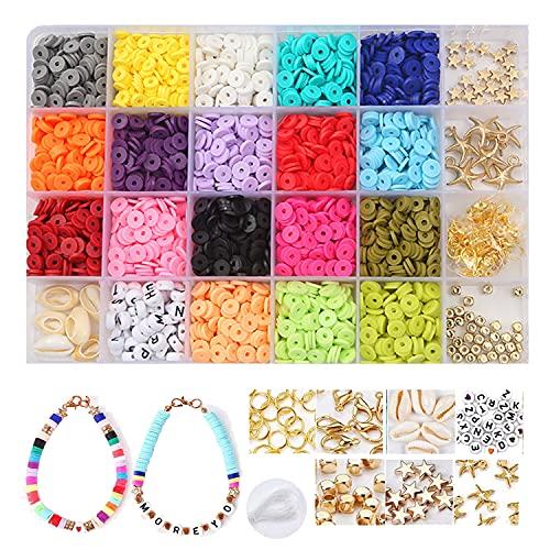 Flysee Cuentas Coloridas Abalorios Hacer Pulseras Collar de Bricolaje Cuentas de Colores Cuentas de Arcilla Polimérica Abalorios Planos Pendientes Cumpleaños Regalo para Niños Adultas