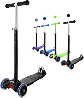 Hikole 3 Wheels Scooter for Toddlers for Aged 3+ Lean to Steer, LED Light Up PU Wheels Foldable Kids Kick Scooters Adjusta...