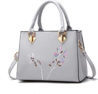 Women's embroidered handbag, embroidered shoulder bag, simple messenger bag, large capacity travel bag, polyester texture, multi-layer design, multi-color optional (Color : Gray, Size : One size)