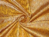Brokat Liturgische Kleidung Stoff Senf Gelb, Hellbraun und