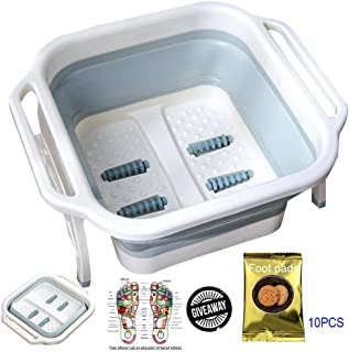 Foot Massagers, Foldable Foot Soaking Bath Tub Basin Foot Massage Heightening Plastic Rubber Portable Foot Bath Barrel With Foot Pads Can Soothing Tired Feet Relaxation Blue
