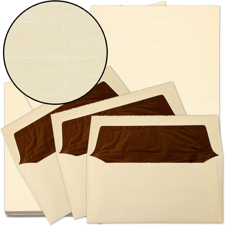 50x echtes Bütten-Papier Vintage Brief-Set Chamois Chamois Chamois A4 Brief-Papier & gefütterte Umschläge - unregelmäßig wild-gerippt - von Zerkall Bütten B0725RK55Z   Günstige Bestellung  243cf3