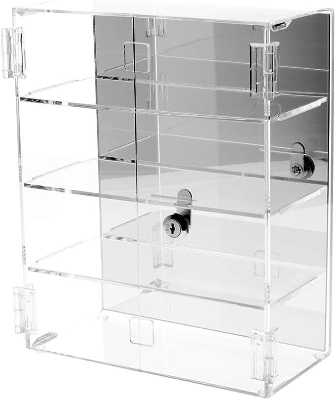 Plymor Clear Acrylic Locking Display Case w// 3 Angled Shelves 12.75 H x 10.25 W x 5 D