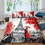 Erosebridal Eiffel Tower Bedding Set, Valentine's Day Romantic Theme Comforter Cover, Queen Paris France Red Maple Leaf Autumn Quilt Cover, Couple Grey Illustration Duvet Cover Decorative