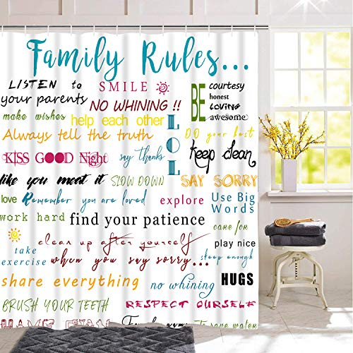 Family Rules Educational Shower Curtain with 12 Hooks, Motivational and Inspirational Quotes Shower Curtain for Bathroom, Waterproof