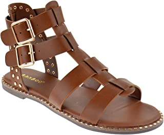 Minimal 58 Womens Open Toe Dual Buckle Studded Flat Caged Gladiator Sandals