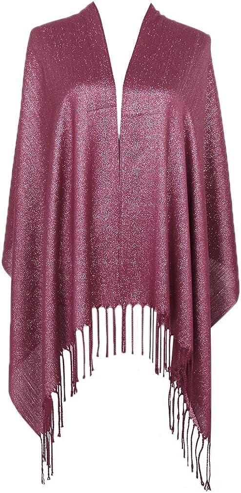 LMVERNA Sparkling Metallic Pashmina Scarf for Women Lightweight Fashion Large Shawls and Wraps for Evening Dresses