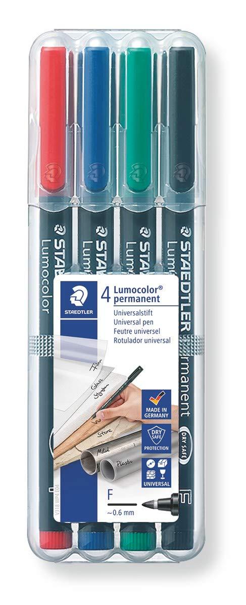 Pack Green of 4  PBM1.0 4x Green Permanent Marker Pens 1mm Point Bullet Tip