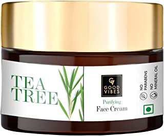 Good Vibes Tea Tree Purifying Face Cream, 50 g Skin Moisturizing Soothing Calming Formula, Helps Reduce Acne & Excess Oil ...
