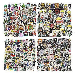 200Pcs Mixed Anime Stickers, Waterproof Naruto Stickers My Hero Academia Demon Slayer Dragon Ball Z Stickers for Car…