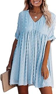 Summer Women's Short Sleeves Mini Dress Sexy V Neck Flowy...