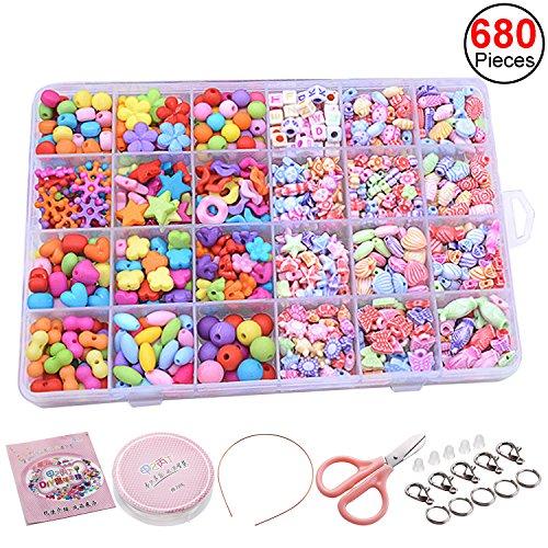Sasairy 680 Stücke DIY Perlen Bunte für Kinder DIY Halskette Armbänder Haarband Basteln Pädagogisches Spielzeug mit Werkzeuge und Zubehör,Kit 5