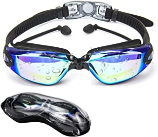 HOOFUN Swimming Goggles,Swim Goggles 3D Ergonomic Fit Premium Silicone with Ear Plug No Leaking with UV Protection Anti-Fog Swimming Glasses Adjustable Strap for Adults Men Women Teen