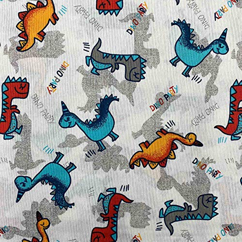 Kt KILOtela Tela por Metros de loneta Estampada - Ancho 280 cm - Largo a elección de 50 en 50 cm   Dinosaurios - Rojo, Azul, Naranja