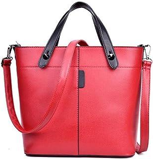 Trendy Lady Fashion Shoulder Bag Retro Messenger Bag Large Capacity Handbag Casual Tote Bag Zgywmz (Color : Red, Size : 24 * 13 * 27cm)