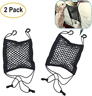 Pack of 2 Dog Barrier Car Seat Net, Universal Dual Layer Stretchable Mesh Organizer with Reinforced Hooks, Keep Your Children and Pets Safe and Prevent Distraction While You Drive, for Sedan, SUV