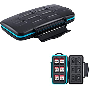 JJC Deluxe 24 Slots Switch Game Card Case Game Cartridges Holder for 12 Nintendo Switch Games & 12 microSDXC microSD on Nintendo Switch & Nintendo Switch Lite, Compact, Shock-Resistance & Waterproof
