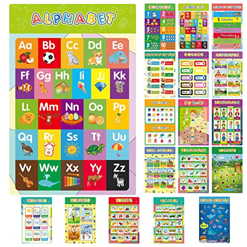 """17 Educational Preschool Posters for Toddler, Calibron Posters for Kids Learning Wall Chart, Kindergarten Homeschool Supplies Classroom Decor, Laminated Pre-K 1st Grade Learning Materials, ABC Alphabet, Numbers, Colors and More 16"""" x 11"""""""