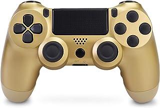 Manette pour PS4, Double Vibration Manette de Jeu avec USB Rechargeable pour Playstation 4/PS4 Pro/Slim/PC (d'or)