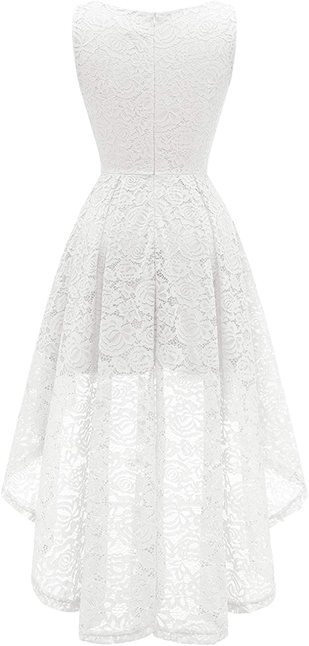 Bridesmay Women's Elegant V-Neck Vintage High Low Sleeveless Floral Lace Cocktail Party Swing Dress