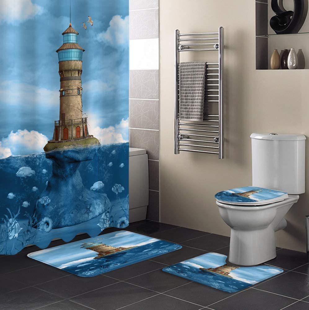 MUSEDAY 4 Piece Shower Curtain Set Lid with Toilet Rug Non-Slip Animer and price Bargain sale revision