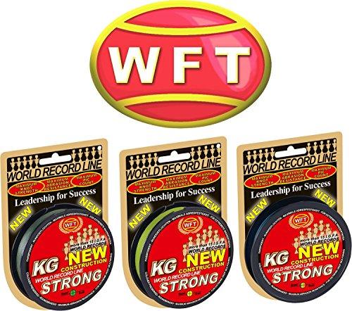 WFT KG Strong 300m 0,18mm 22kg, geflochtene Schnur, Meeresschnur, Angelschnur, Geflechtschnur, Farbe:Gelb