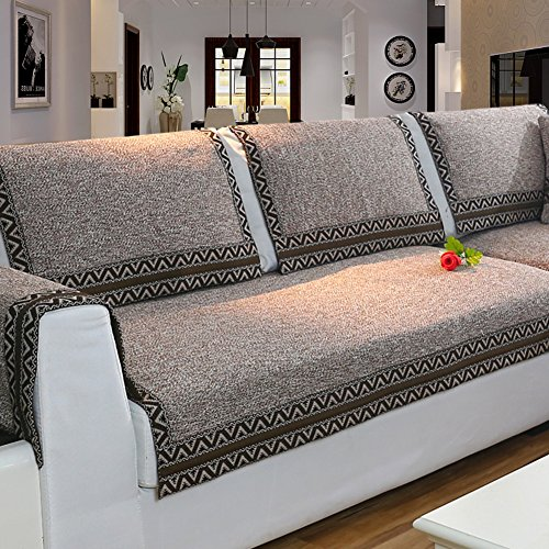 Z-one Sofa Abdeckung Retro Dekoration Sofa Überwurf Baumwolle Anti-rutsch Schmutzabweisend Kissen beschützer Für L förmige- Couch Schnitt-Kaffee 90x210cm(35x83inch)