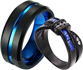 ringheart Two Rings Couple Rings Black and Blue Plated Titanium Steel 8mm Mens Wedding Band Blue Cz Womens Wedding Ring