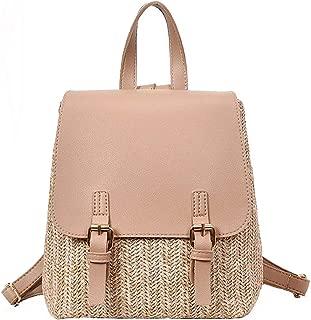 Women Straw Woven Backpack Casual Shoulder Bag School Bag Satchel Travel Bags (Khaki)
