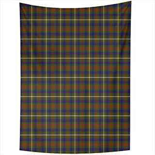 Ahawoso Tapestry 60x80 Inch Blue Tartan Patterned Clan Fraser Hunting Abstract Plaid Brown Ancient Celtic Checkered Christmas Woven Classic Tapestries Wall Hanging Home Decor Living Room Bedroom Dorm