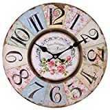 Shabby Chic Floral Patchwork Clock  Vintage Wall Clocks for Living Room, Bedroom and Kitchen  MultiColoured Cute Retro Style Clock Wall